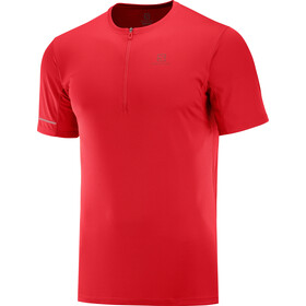 Salomon Agile Graphic T-shirt Halve Rits Heren, goji berry/red dahlia